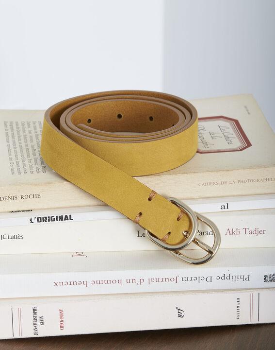 Ceinture jaune fine double boucle en cuir Quorentin PhotoZ | 1-2-3