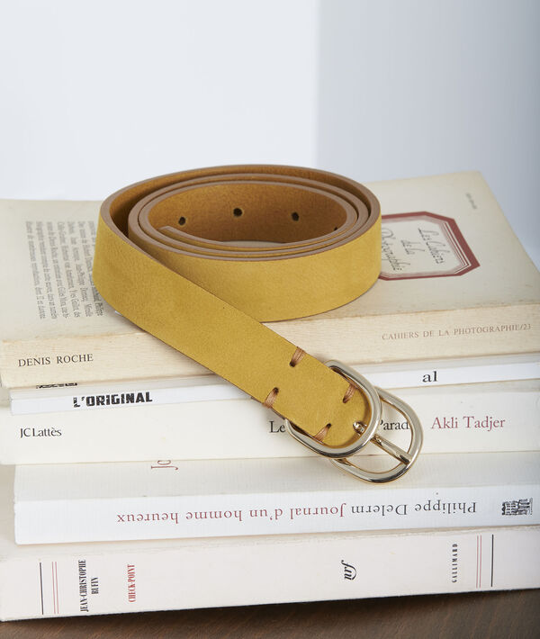 Schmaler gelber Ledergürtel mit Doppelschnalle Quorentin PhotoZ | 1-2-3