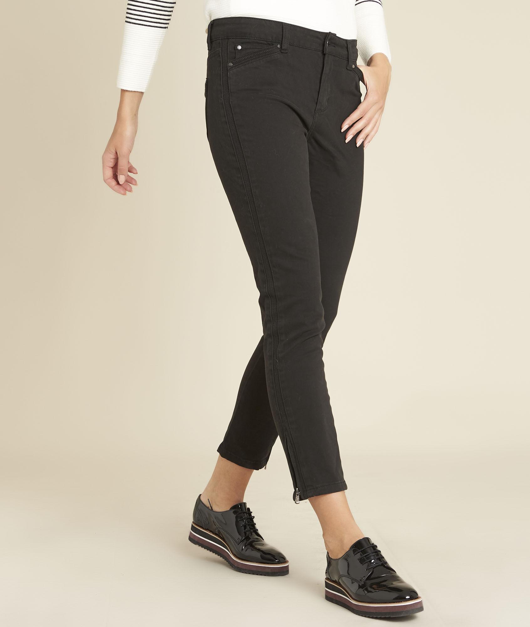 Schwarze Slim Fit Jeans mit Reißverschlüssen Opera