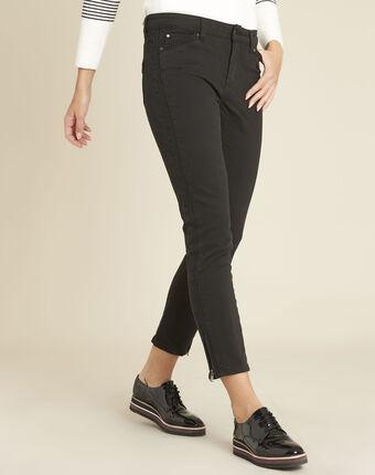 Schwarze slim-fit-jeans mit reißverschlüssen opera schwarz.