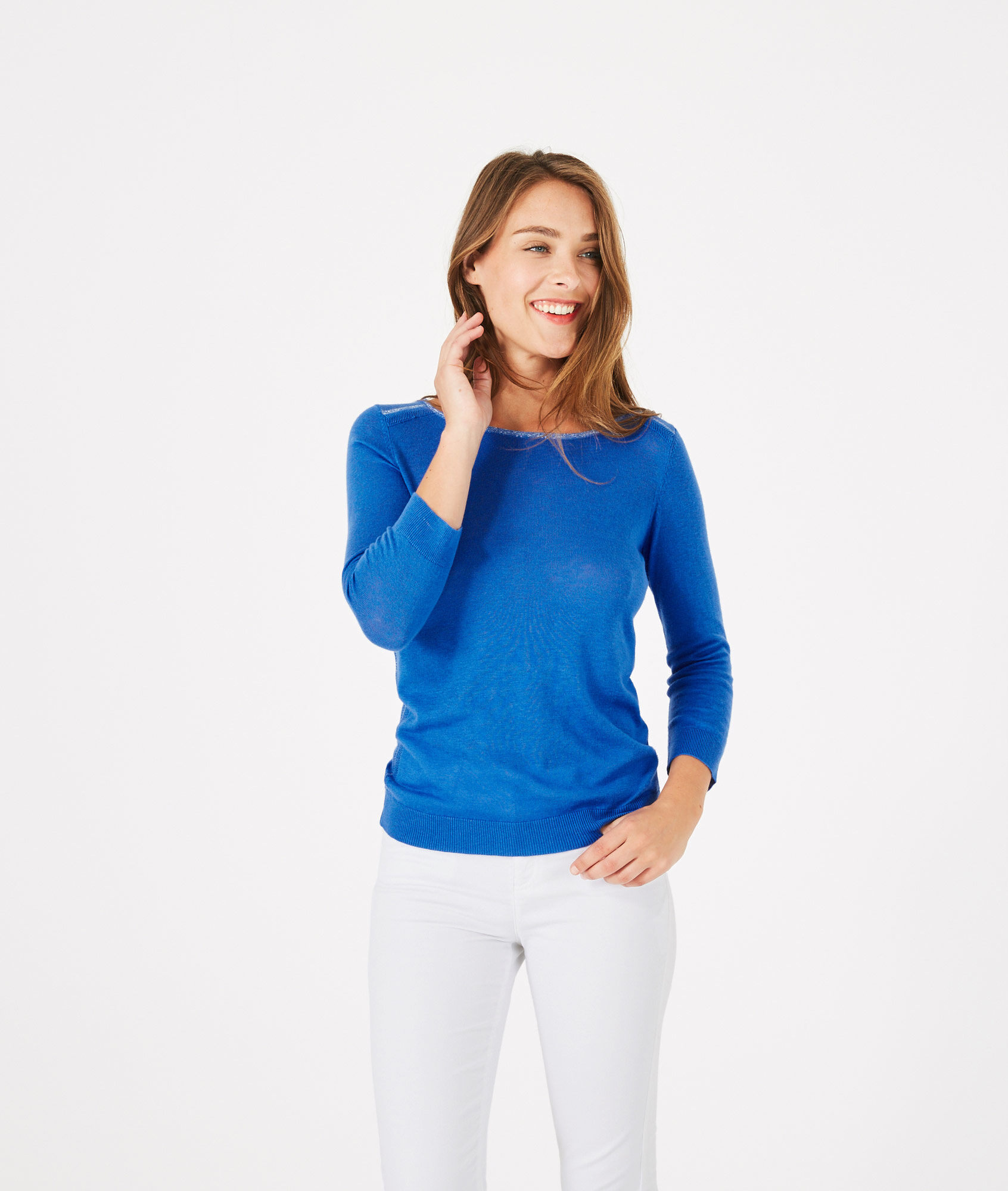 Pétillant royal blue sweater with metallic threading - 123