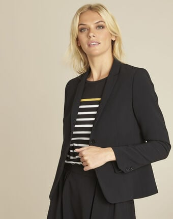 Eve black belted jacket in microfibre black.