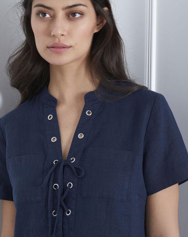 Lenie navy dress with eyelet collar (2) - Maison 123 ... 2b7a9eaf6