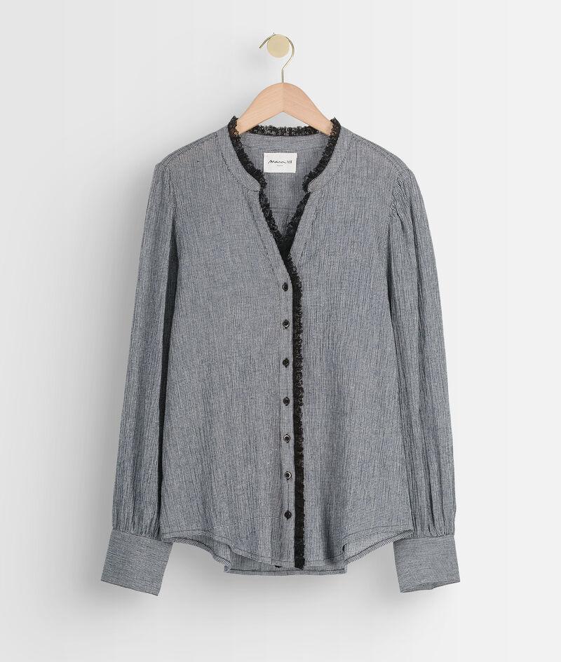 Blouse en coton et détails dentelle noire et grise Alex PhotoZ   1-2-3