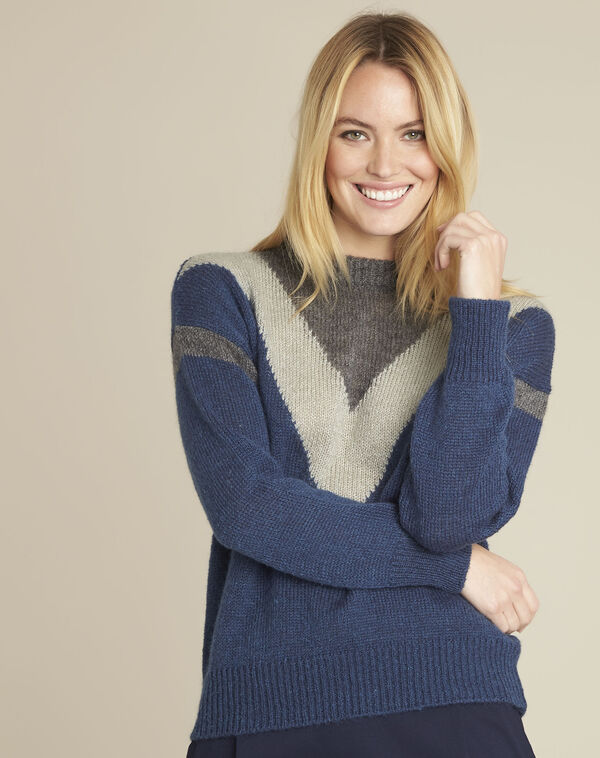 Pull marine colorblock mohair Bise (1) - 1-2-3