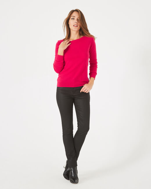 Petunia dark fuchsia, cashmere sweater with round neck (2) - 1-2-3