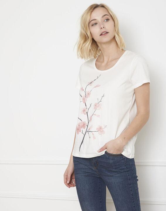 Tee-shirt écru imprimé fleuri Pilou (2) - Maison 123