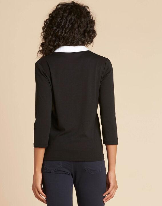 Schwarz-weißes T-Shirt mit Hemdkragen Bowling (4) - 1-2-3