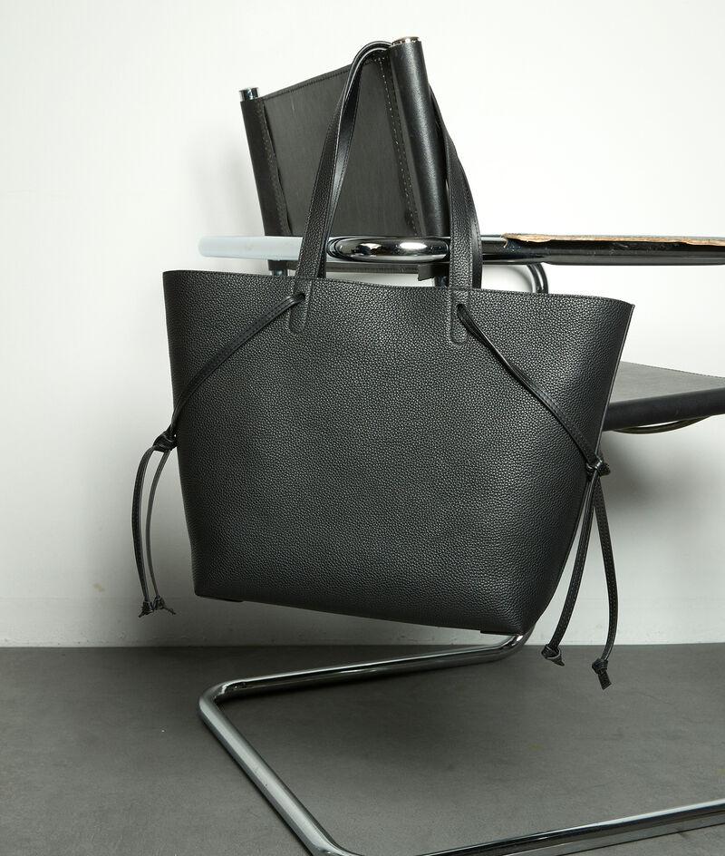 Shopper-Tasche aus weichem Leder schwarz Mary PhotoZ | 1-2-3