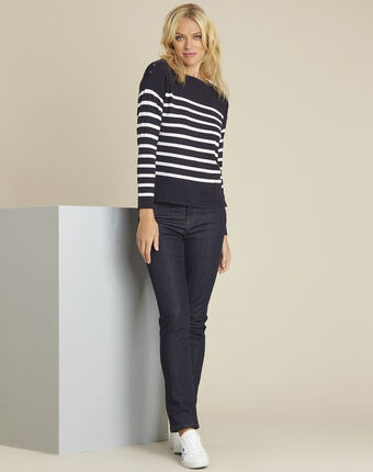 Baltimore striped wool pullover royal blue.