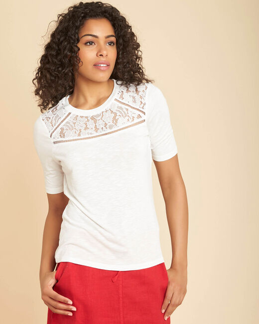 Ecrufarbenes Spitzen-T-Shirt Envy (2) - 1-2-3