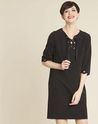 Donatella black dress with eyelets black.