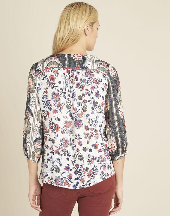 Cécile ecru blouse with floral print (4) - 1-2-3