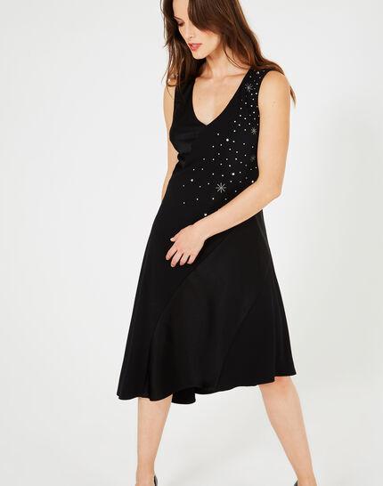 Schwungvolles schwarzes Kleid mit Swarovski-Kristallen Beverly (2) - 1-2-3