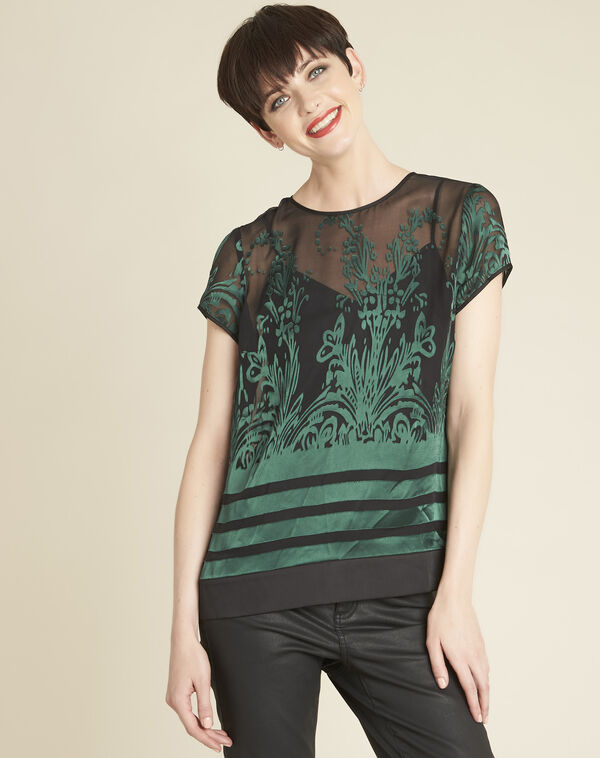 Cindy dark green blouse with openwork detailing (1) - 1-2-3