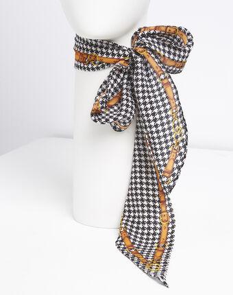 Cravate ceinture en soie imprimé graphique franklin noir.