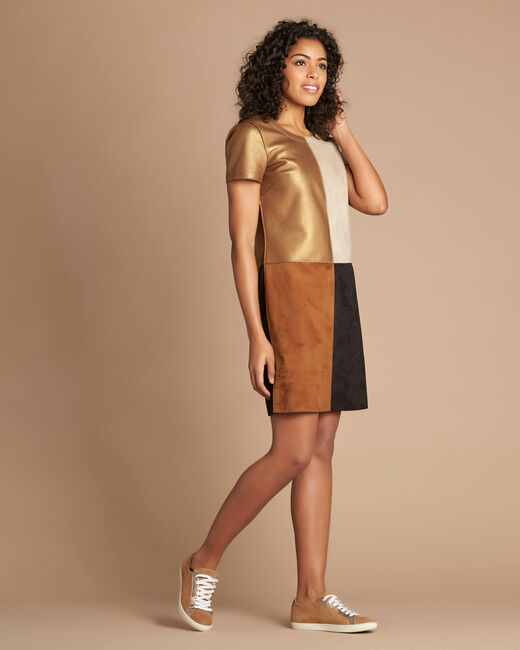 Passion bronze animal print colour-blocked dress (2) - 1-2-3
