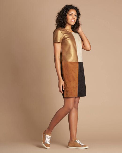 Goldbraunes Colorblock-Kleid in Animal-Optik Passion (2) - 1-2-3
