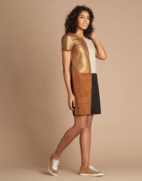 Passion bronze animal print colour-blocked dress PhotoZ | 1-2-3