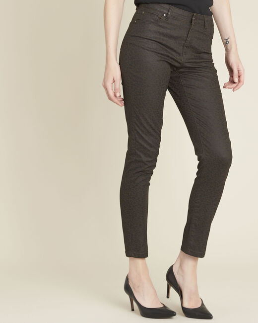 Anthrazitfarbene Slim Jeans mit Leopardenmotiv Vendome (1) - 1-2-3