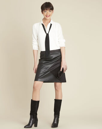 Abby black trapezoid faux leather skirt black.