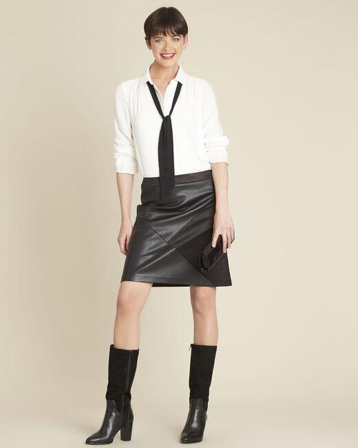 Jupe noire faux cuir trapèze Abby (1) - 1-2-3