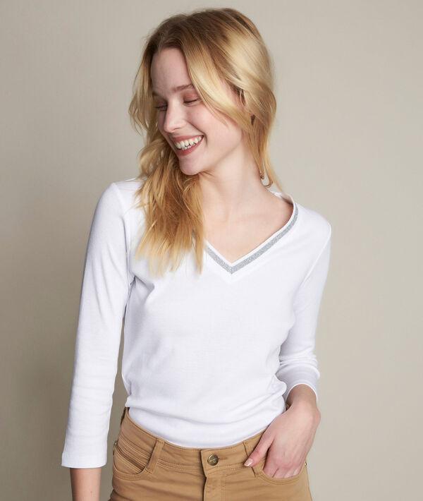 Tee-shirt blanc col fantaisie Calypso PhotoZ   1-2-3