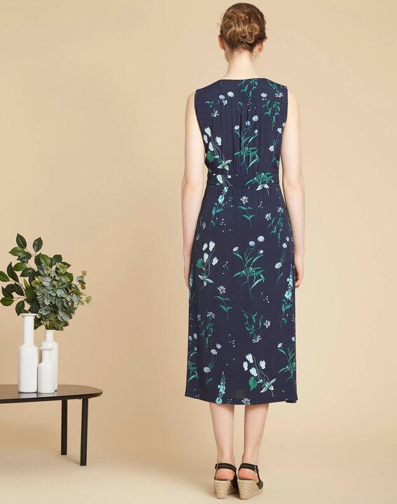 Langes marineblaues Print-Kleid Pepita (4) - 1-2-3