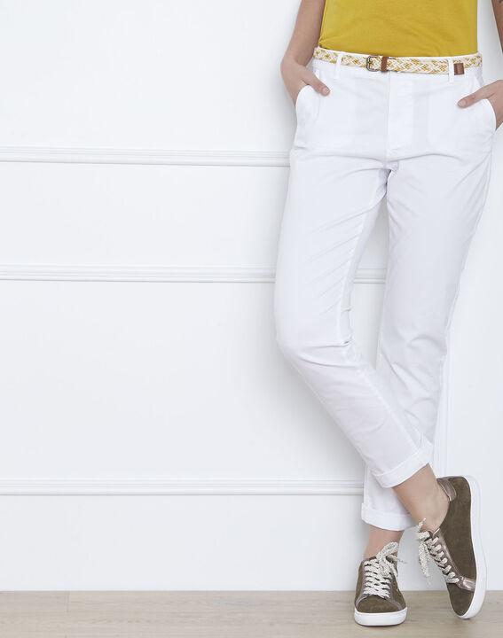 Pantalon blanc chino ceinture fantaisie Francis (2) - Maison 123