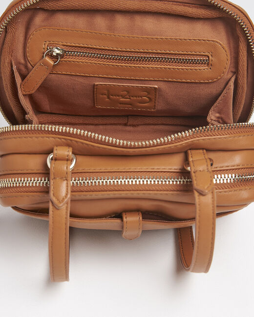 Dolly brown crossbody bag with gold tone zips (1) - 1-2-3