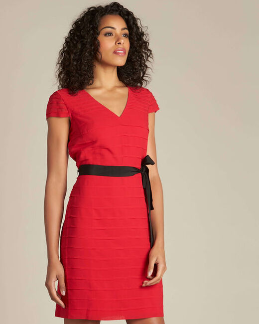 Idylle red dress in grosgrain with frilled detailing (1) - 1-2-3