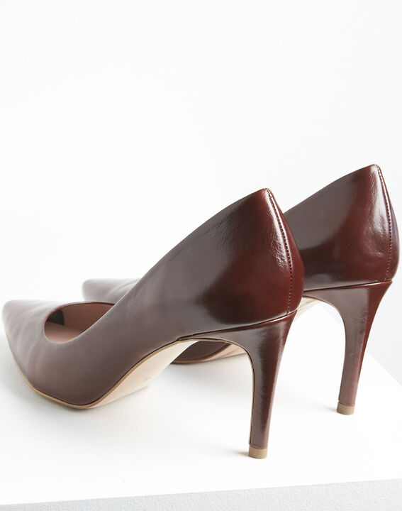 Escarpins marrons bout pointu en cuir Kelly (4) - 1-2-3