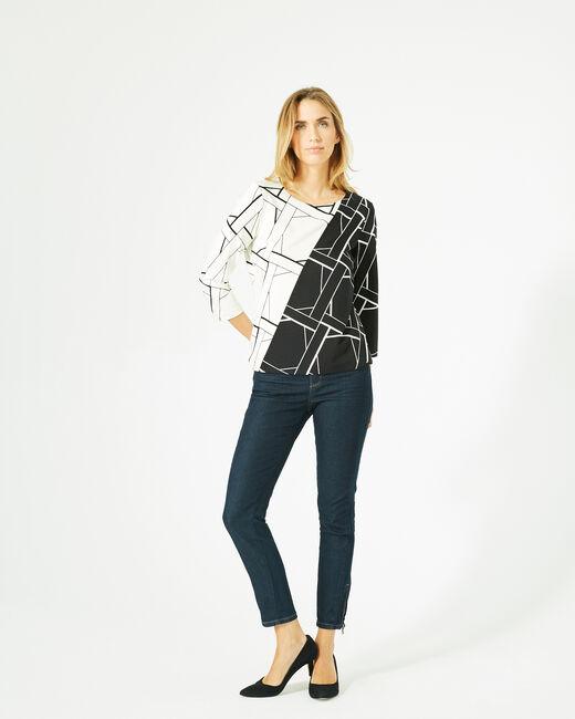 Tee-shirt noir et blanc imprimé Losange Bis (1) - 1-2-3