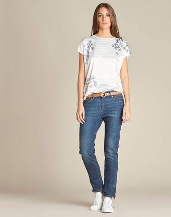 Tee-shirt rayé imprimé ginkgo erbier noir/blanc.