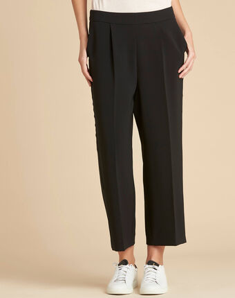 Vada black tailored 7/8 length wide-cut trousers black.