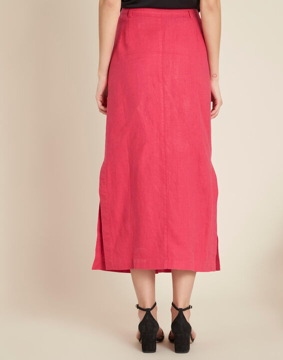 Lunis long fuchsia skirt in linen with buttons (4) - 1-2-3