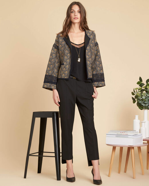 Sama tailored black trousers with cutouts along the hems (2) - 1-2-3