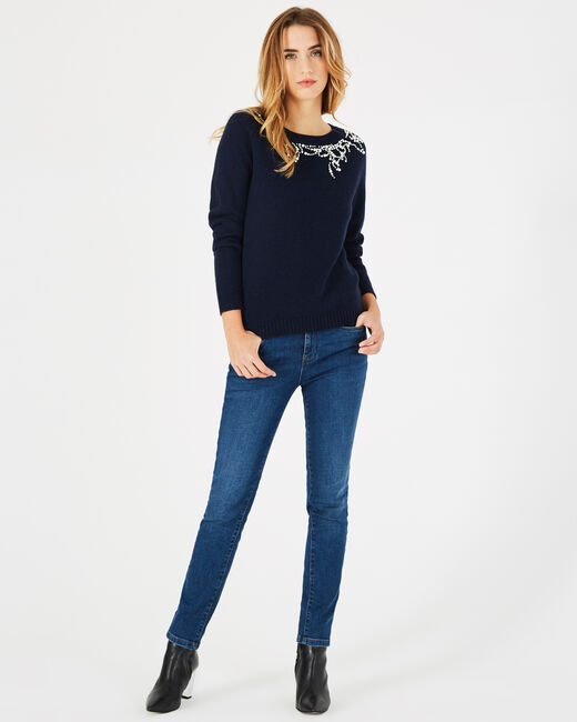 Perle navy blue sweater with beading in a wool blend (1) - 1-2-3