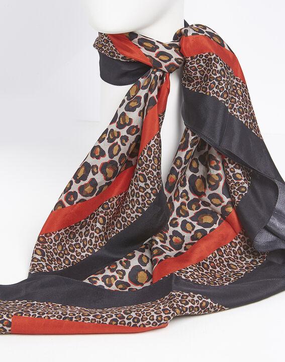 Carré de soie rouge imprimé léopard Felin (3) - 1-2-3