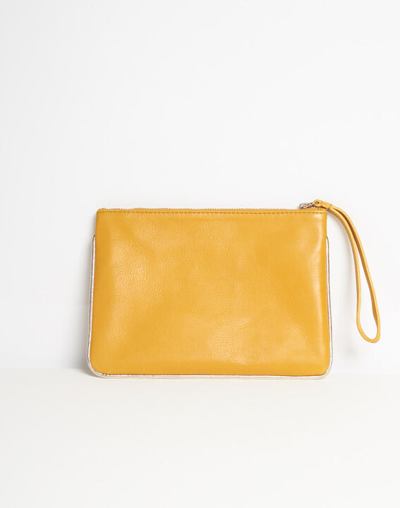 Droopy pale yellow clutch with leather straps PhotoZ | 1-2-3