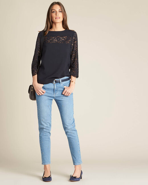 Golly navy blue lace blouse (2) - 1-2-3