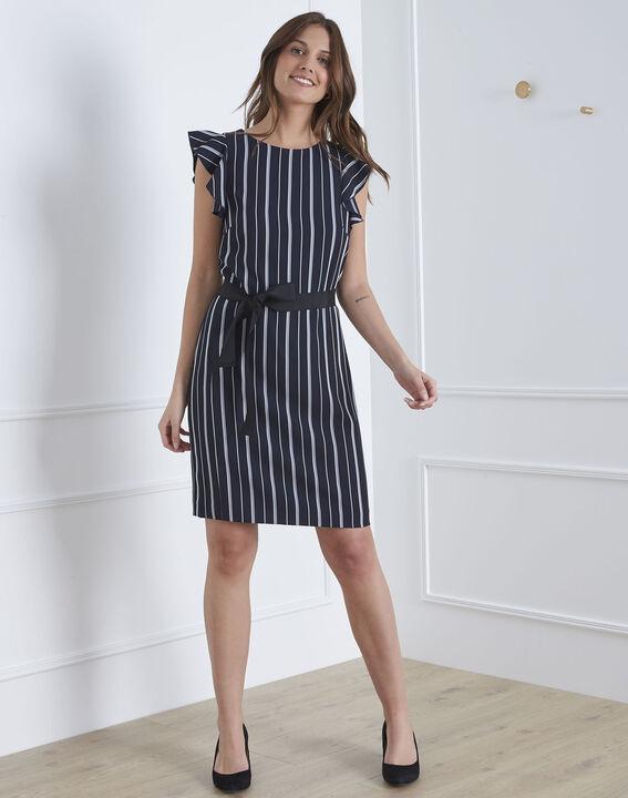 Marineblaues Kleid Streifen Rüschen Laure (1) - Maison 123