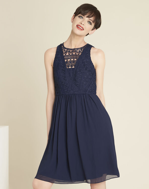 Ibiza navy blue dress with lace at the neckline (1) - 1-2-3