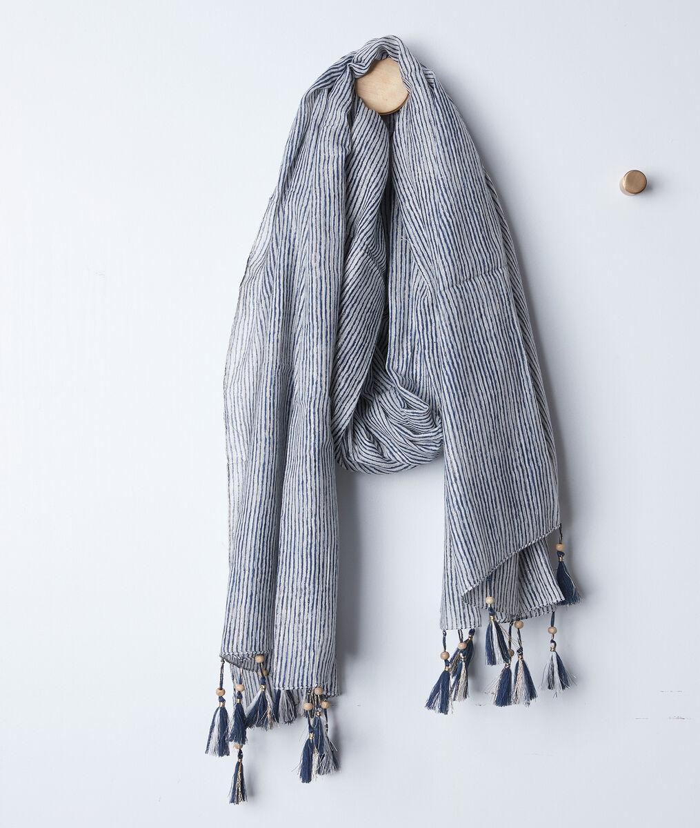 Foulard rayé bleu à franges Bayron PhotoZ   1-2-3