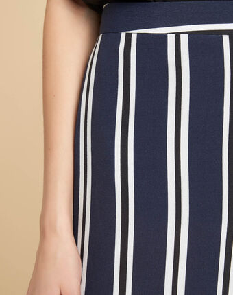 Sissi wide-cut navy blue trousers with stripes navy.