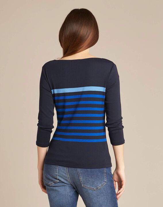 3/4-Arm-T-Shirt mit marineblauen Streifen Emarine (4) - 1-2-3