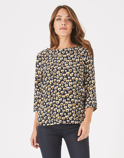 Daryl yellow heart-printed blouse (3) - 1-2-3
