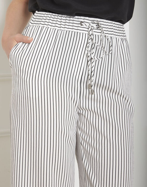 Pantalon blanc large rayé Goyave (4) - Maison 123
