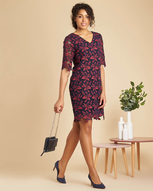 Indy navy blue dress in floral guipure (2) - 1-2-3