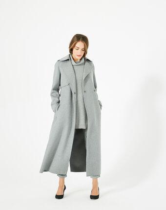 Manteau long gris en laine jill gris pale.